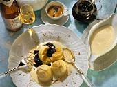 Semolina dumplings with ginger sabayon