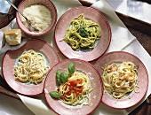 Quattro primi (four spaghetti dishes, Italy)