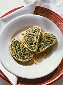 Noodle and Spinach Roll