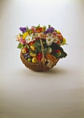 Spring Basket with Fruit; Vegetables and Flowers