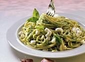 Spaghetti al pesto (spaghetti with herb pesto, Italy)