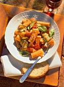 Rigatoni all'ortolana (pasta with tomatoes & courgettes, Italy)