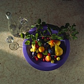 Purple Bowl with Fruit and Leaves