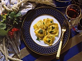 Ravioli with vegetable filling
