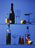 Bar Glasses and Bottles on Shelves (Blue)