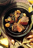 Fillet of Beef with Glazed Shallots; Cast Iron Skillet