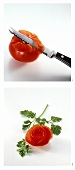 Making tomato roses