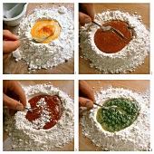 Colouring pasta dough (saffron, tomato, beetroot or spinach)