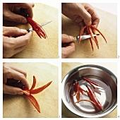 Making chilli flower garnish
