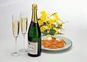 Champagne; Salmon & Flowers
