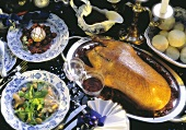 Christmas menu with salad, stuffed goose & gingerbread souffle