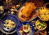 Ravioli; duck a l'orange; Marsala tart (Italy)