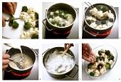 Making broccoli and cauliflower bake