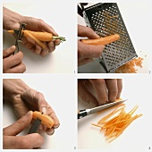 Peeling, grating, turning or chopping carrots