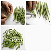 Breaking and slicing french beans