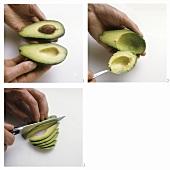 Halving, hollowing and slicing avocado