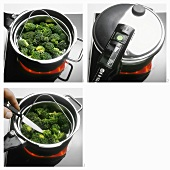 Steaming broccoli in pan