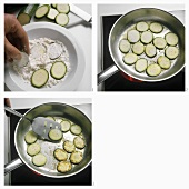 Coating courgettes in flour and frying them