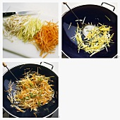 Stir-frying leeks, carrots and soya beans