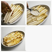 Cooking white asparagus au gratin