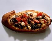 Crostini with aubergines (Tuscany, Italy)