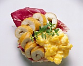 Smorrebrod with Smoked Haddock Fillet and Scrambled Egg