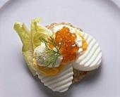 Smorrebrod with Keta Caviar on Egg