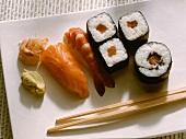 Sushi on White Platter; Salmon & Shrimp