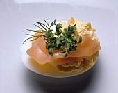 Filled Egg with smoked Salmon Strips