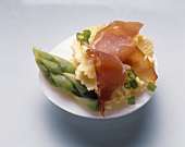 Filled Egg with Asparagus & raw Ham
