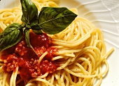 Spaghetti with tomatoes and vegetable sauce (Italy)