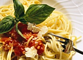 Spaghetti with vegetable sauce and Parmesan (Italy)