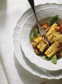 Polenta pasticciata (polenta with meat sauce, Italy)