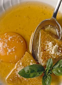 Zuppa pavese (broth with raw egg, Italy)
