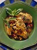 Pollo alla cacciatora (Chicken with mushrooms & tomatoes, Italy)