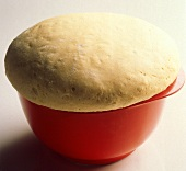 Leavened Dough in Red Bowl