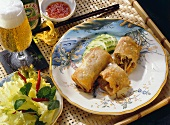 Spring Roll on Painted Plate