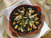 Blue Mussels with Parmesan au gratin