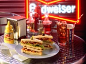 Triple Decker BLT with Chicken in a Diner