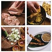 Making satay (skewered meat)