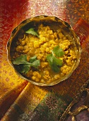 Red Lentils with Coriander in Brass Bowl