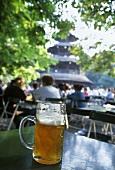 A litre of beer; Chinesischer Turm restaurant