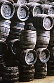 Stacked wooden Barrels in Andechs