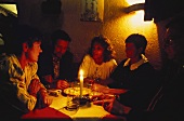 German (Franconian) Wine Tavern Scene with Candlelight