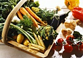 Wood Basket with Fresh Picked Vegetables