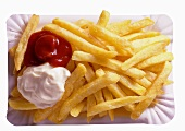 French Fries on Paper Plate; Ketchup and Mayo