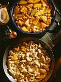 Potato goulash and chanterelle goulash