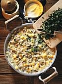 Vienna Style Potato Soup in a Pan