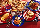 American food: hot dogs; pizza; hamburger