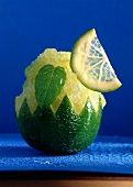 Lime Sorbet Served in a Cut Lime